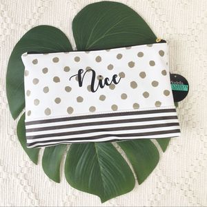 NWT Modella Nice Naughty Cosmetic Bag Zipper Pouch